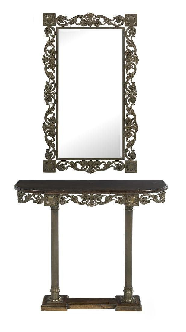 William IV-Style Bronze Mirror and Console