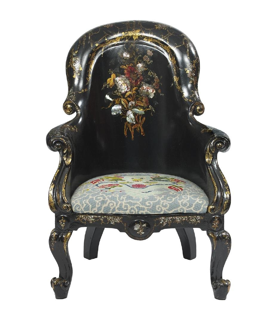 Victorian Ebonized Papier-Mache Armchair