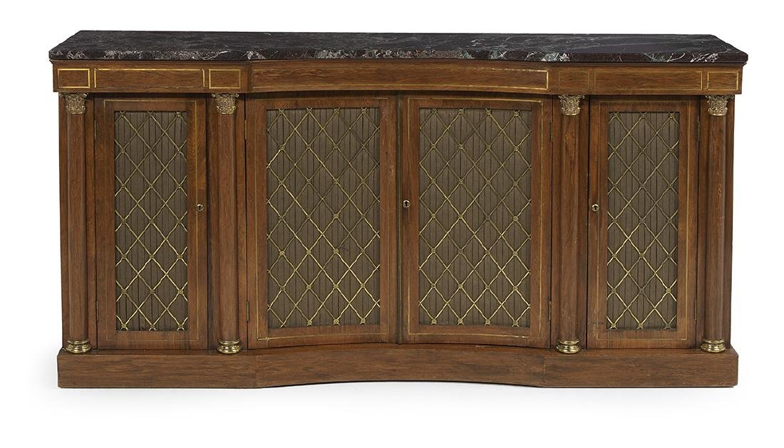 Regency-Style Mahogany and Marble-Top Cabinet