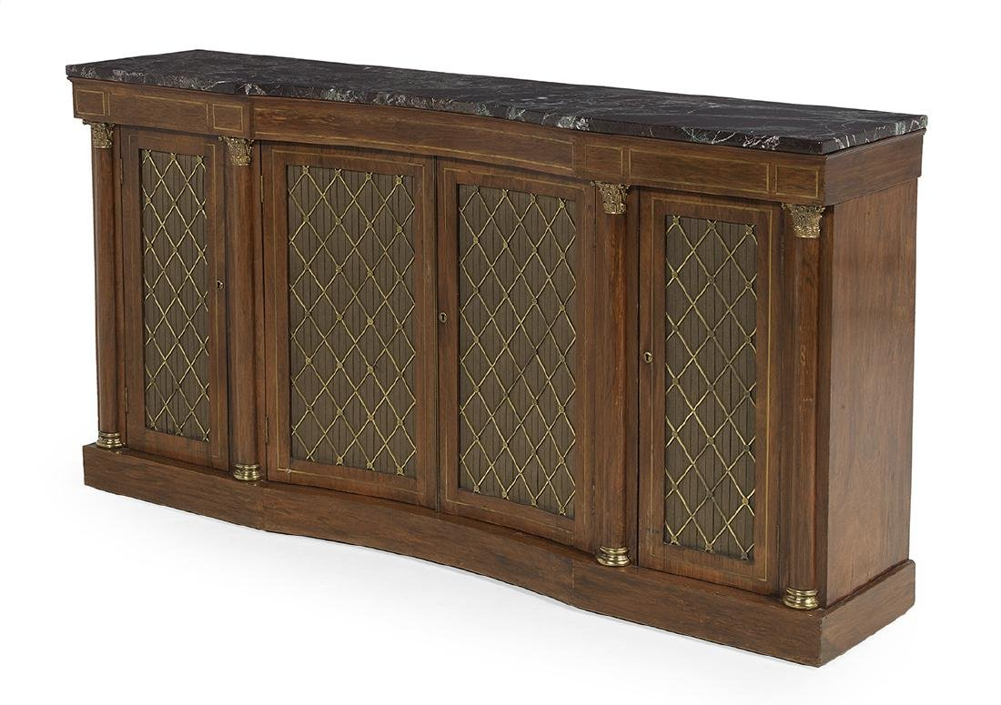 Regency-Style Mahogany and Marble-Top Cabinet - 2