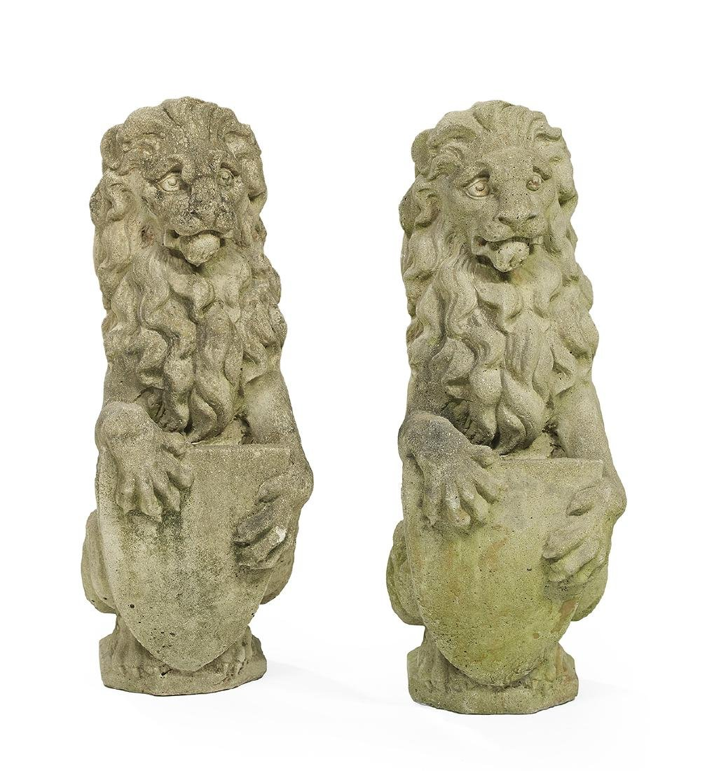 Pair of English Cast Stone Lions
