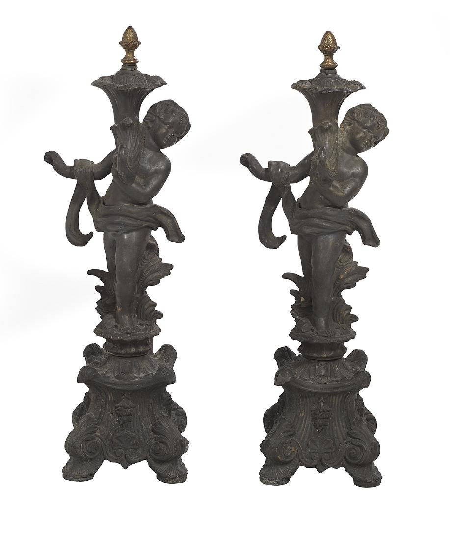 Pair of Cast Iron Andirons in the Rococo Taste