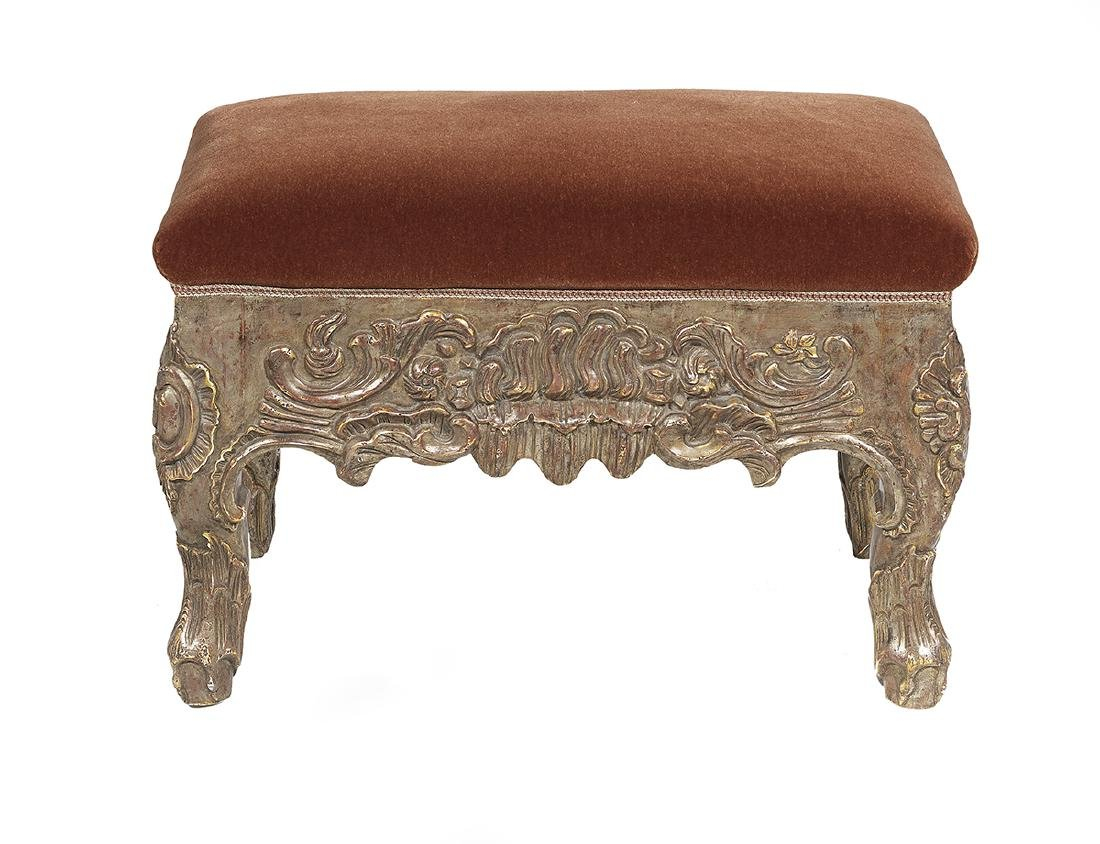 George II-Style Carved and Silver-Leaf Ottoman - 2