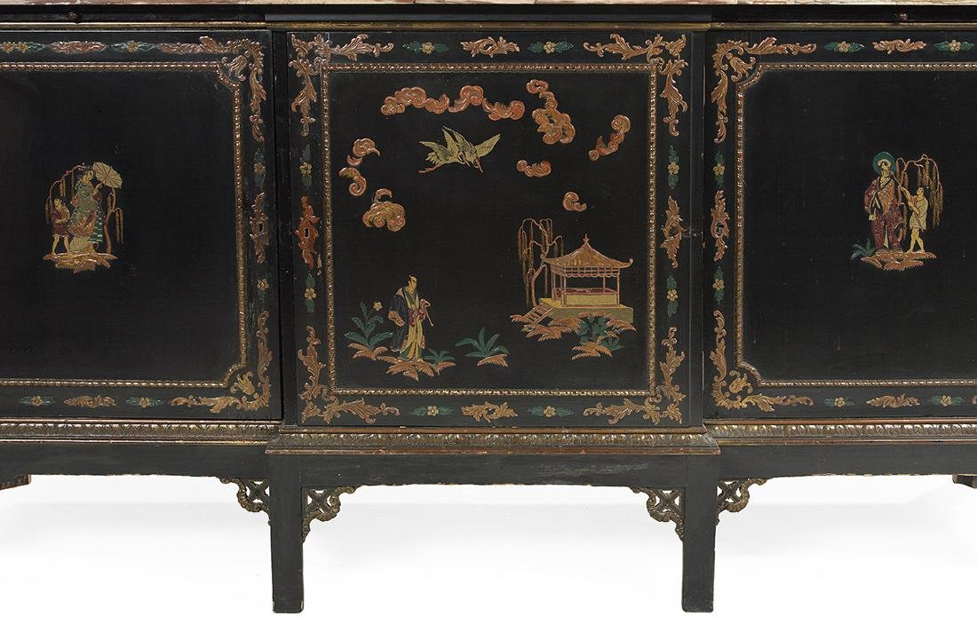 Chinoiserie Ebonized and Marble-Top Cabinet - 3