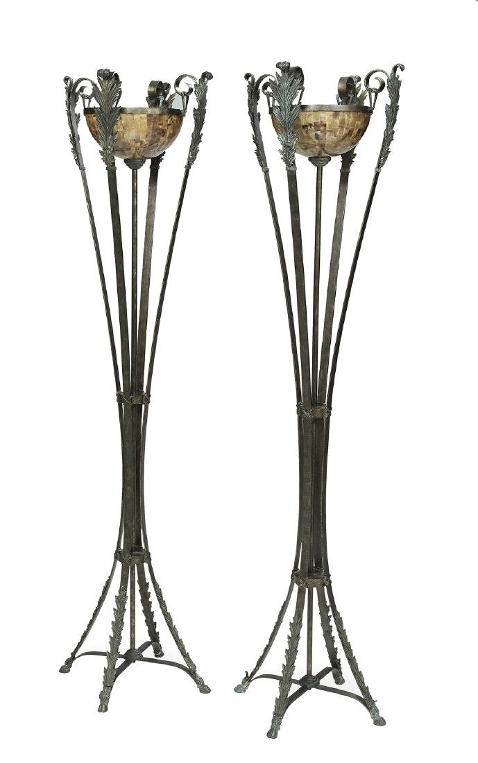 Pair of Bronze and Faux Tortoise Torcheres