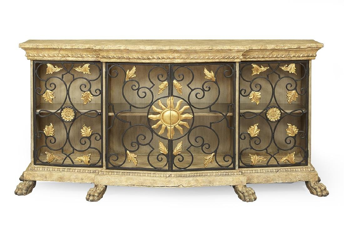 Italian Wrought-Metal and Faux Stone Cabinet