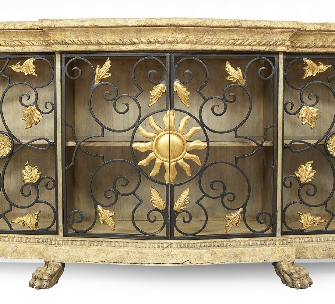 Italian Wrought-Metal and Faux Stone Cabinet - 2