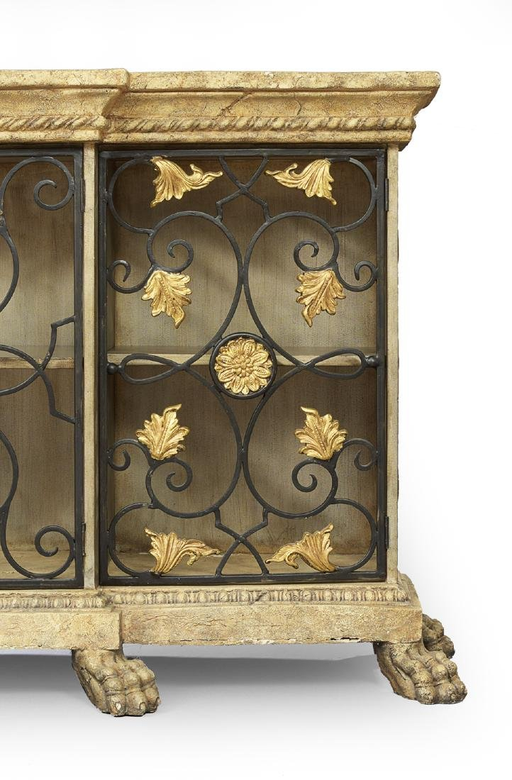Italian Wrought-Metal and Faux Stone Cabinet - 3