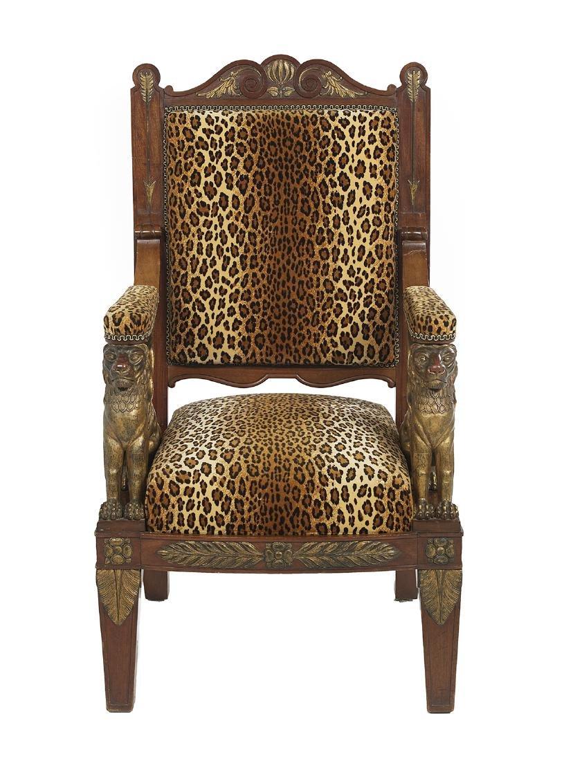 Empire-Style Parcel-Gilt Mahogany Armchair