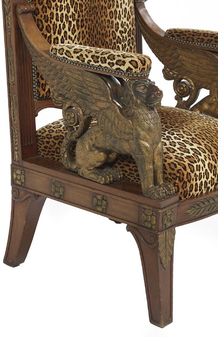 Empire-Style Parcel-Gilt Mahogany Armchair - 3