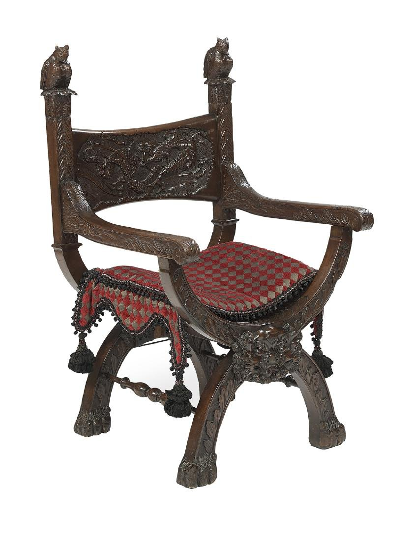 Renaissance-Style Mahogany Savonarola Chair