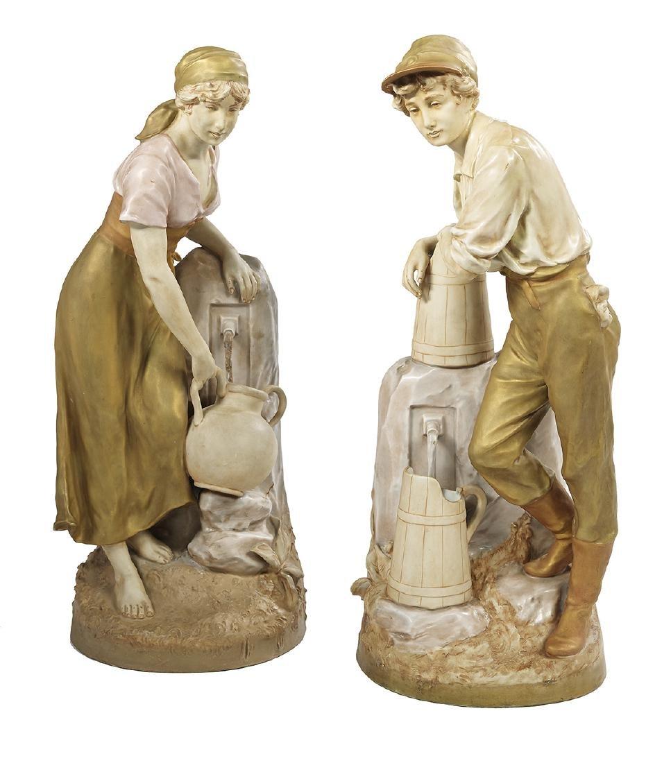 Pair of Royal Dux Porcelain Figures of Peasants