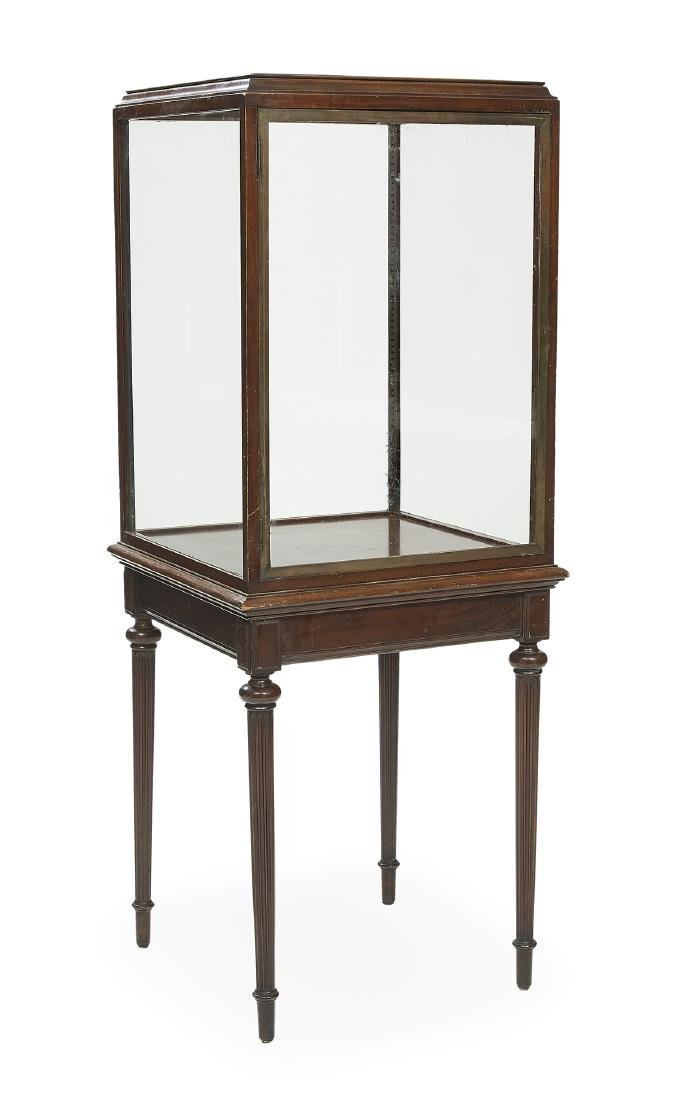 Mahogany and Glass Vitrine on Stand