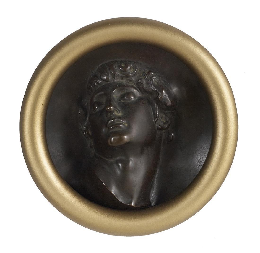 Continental Patinated Bronze Rondel of Apollo