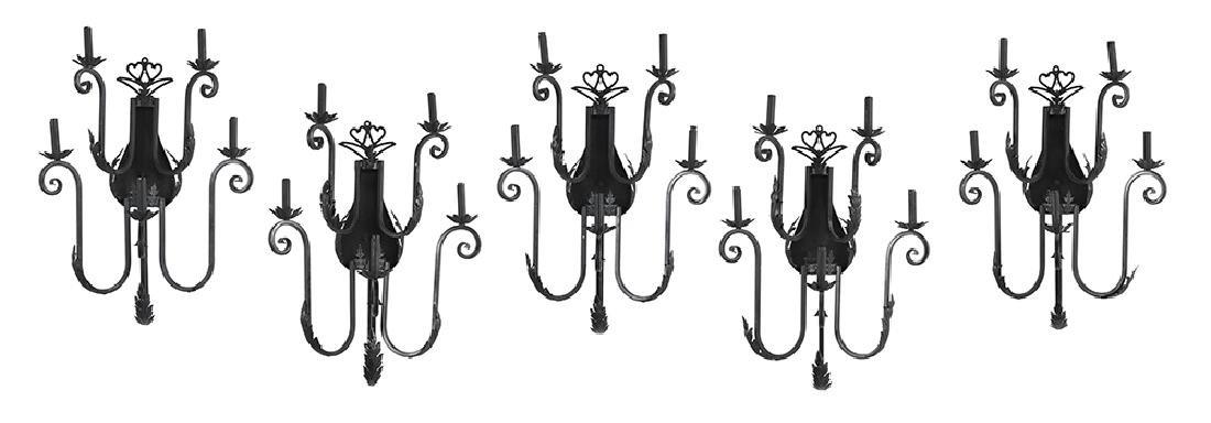 Set of Five Black Metal Sconces
