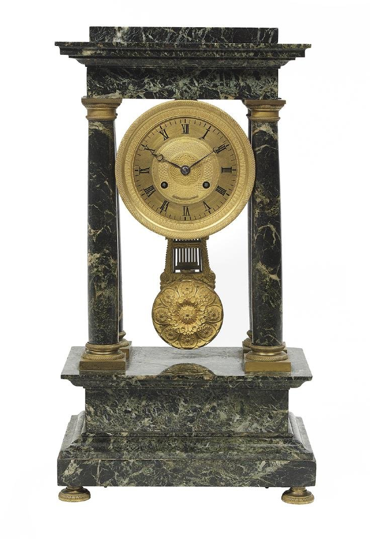 French Empire Marble and Bronze Portico Clock