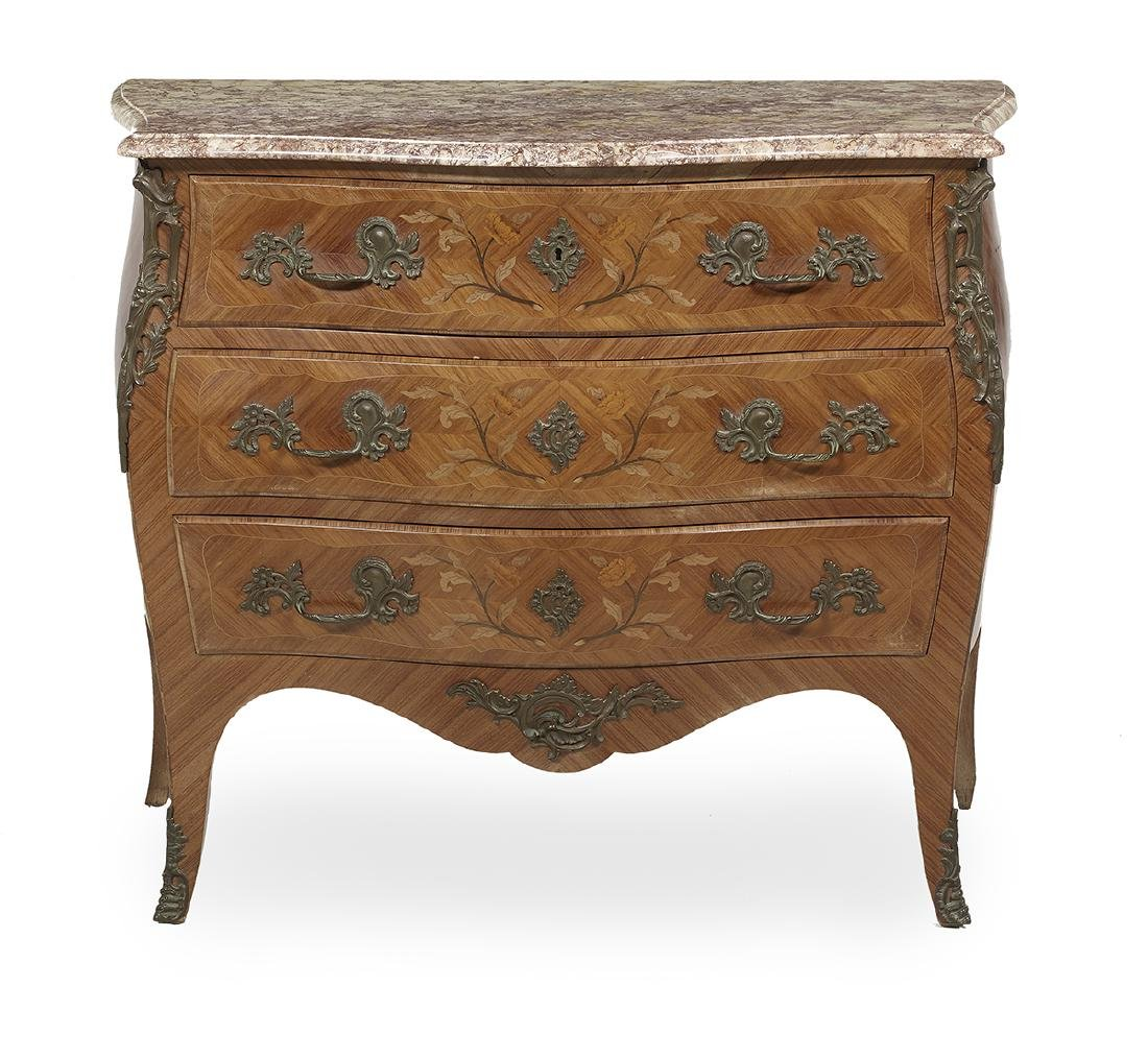 Louis XV-Style Kingwood and Marble-Top Commode