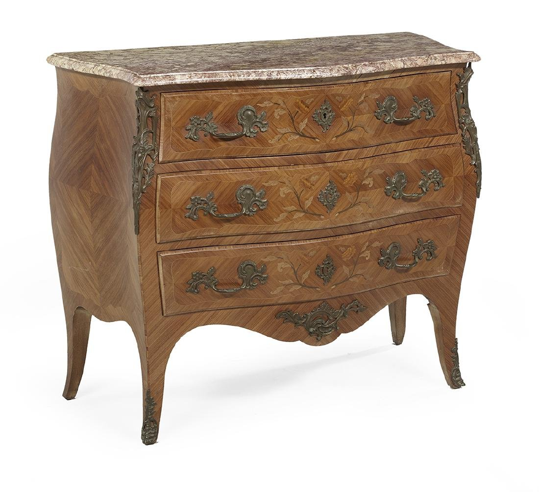 Louis XV-Style Kingwood and Marble-Top Commode - 2