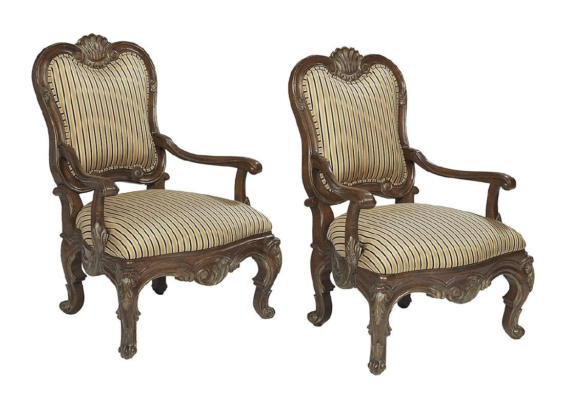 Pair of Louis XV-Style Fruitwood Fauteuils