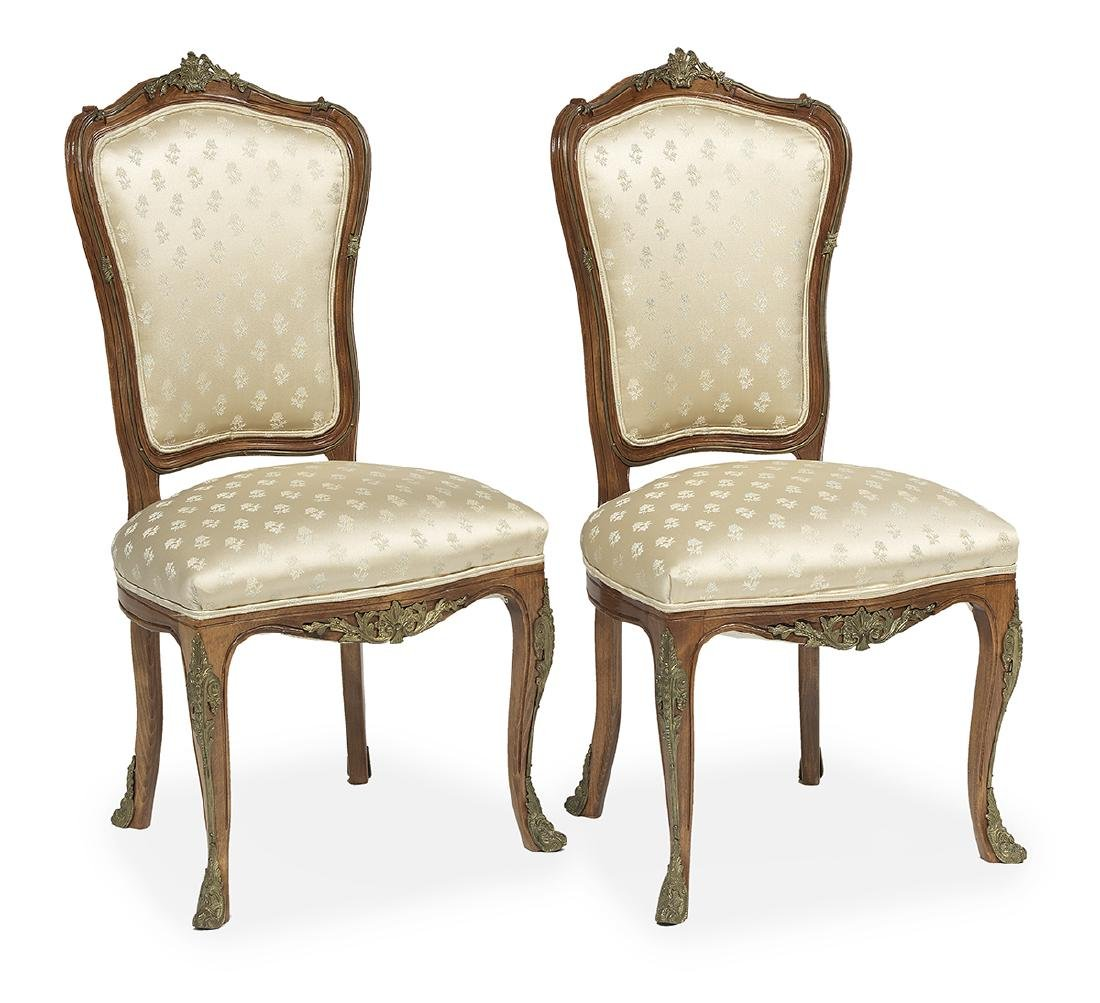 Pair of Louis XVI-Style Fruitwood Side Chairs