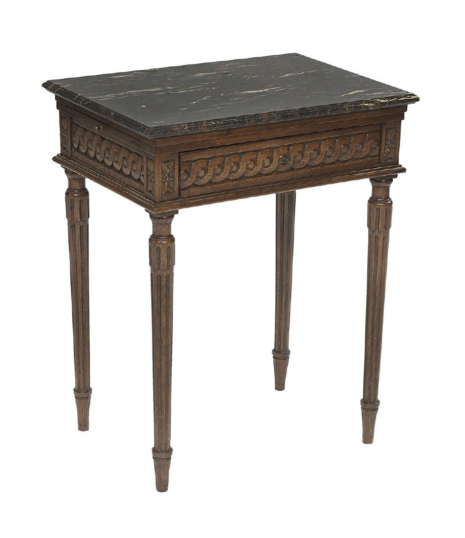 Louis XVI-Style Oak and Marble-Top Side Table