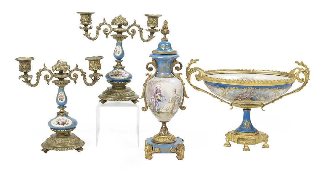 Four Pieces of Bronze-Mounted Porcelain