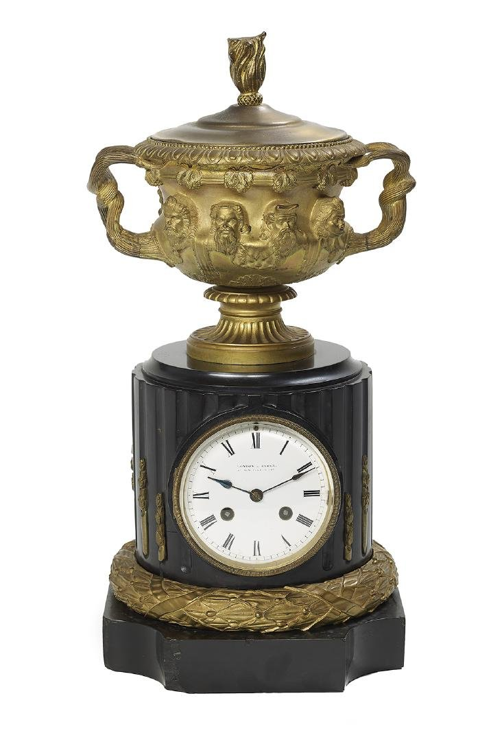 French Bronze and Marble Mantel Clock