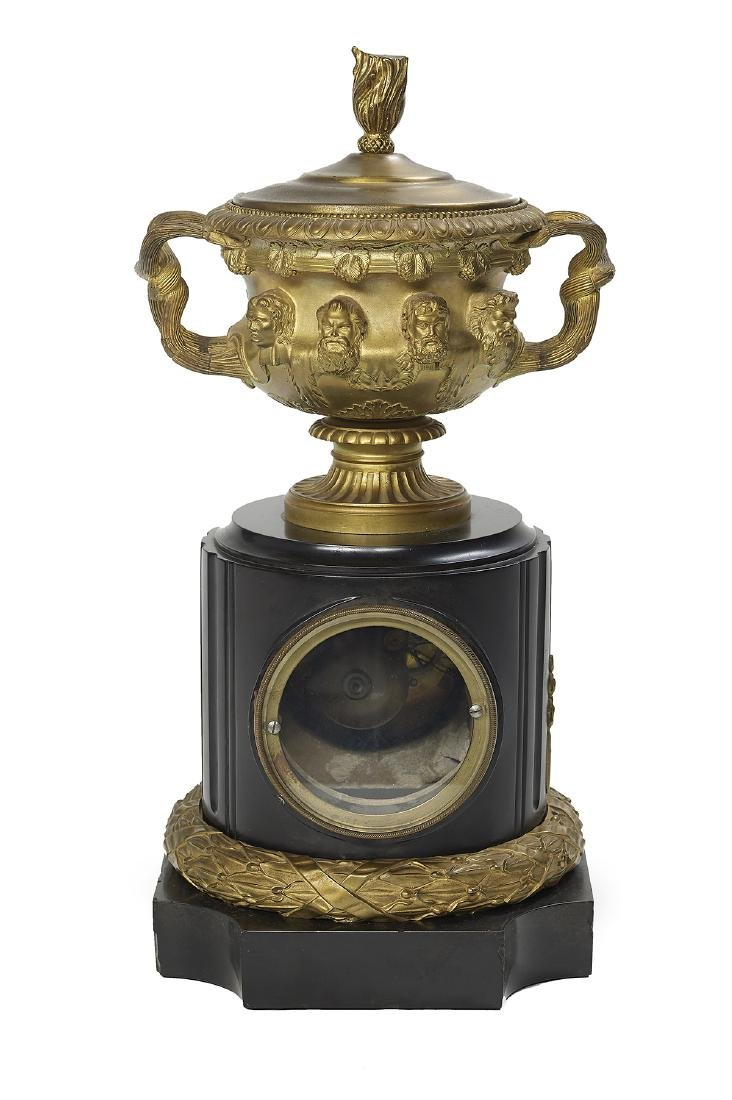 French Bronze and Marble Mantel Clock - 2