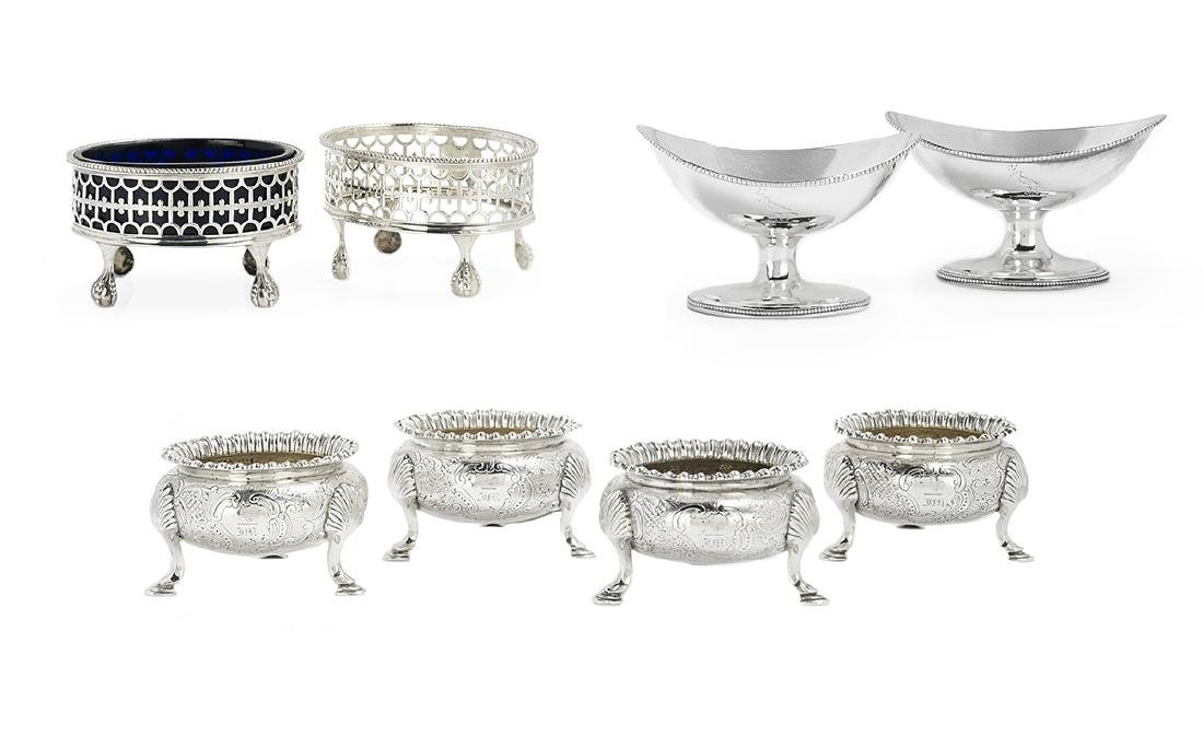 Eight Georgian/Victorian Silver Salt Cellars