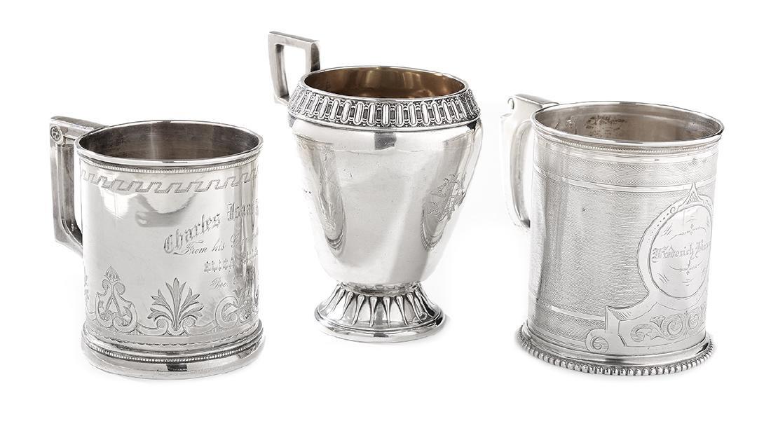Three Gorham Coin Silver Mugs