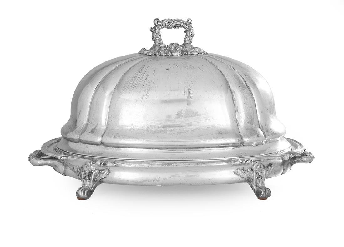 Early Victorian Silverplate Meat Dome and Platter
