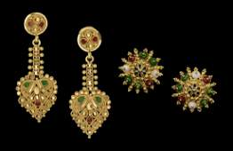 Two Pairs of Gold and Enamel Mughal Earrings