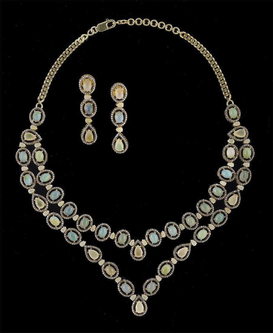 Opal and Diamond Necklace and Earring Suite