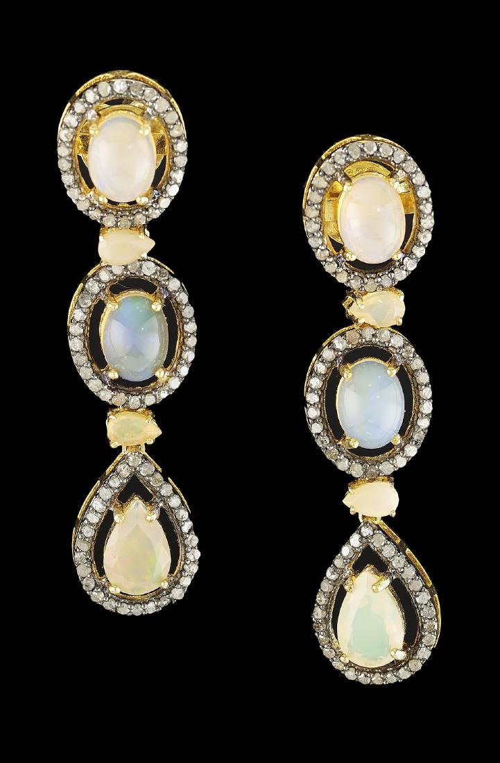 Opal and Diamond Necklace and Earring Suite - 3
