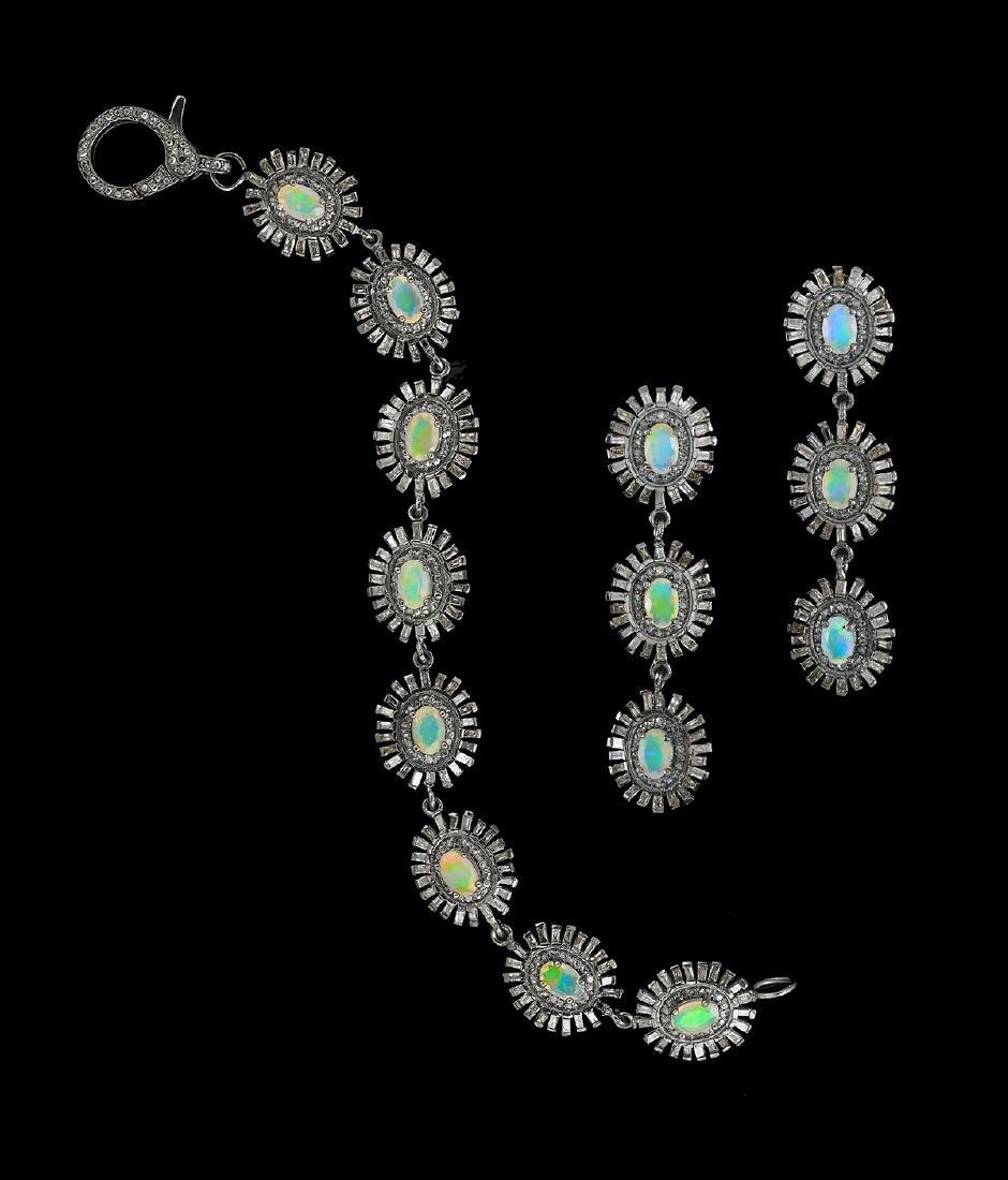 Opal and Diamond Bracelet and Earrings