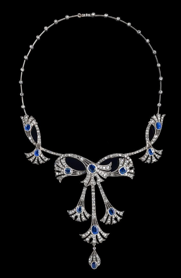 French Belle Epoque Sapphire and Diamond Necklace