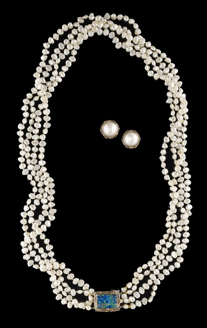 Pearl and Opal Necklace with Mabe Pearl Earrings