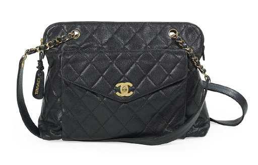 abff171855d2 Vintage Chanel Black Caviar Leather Shoulder Bag. placeholder