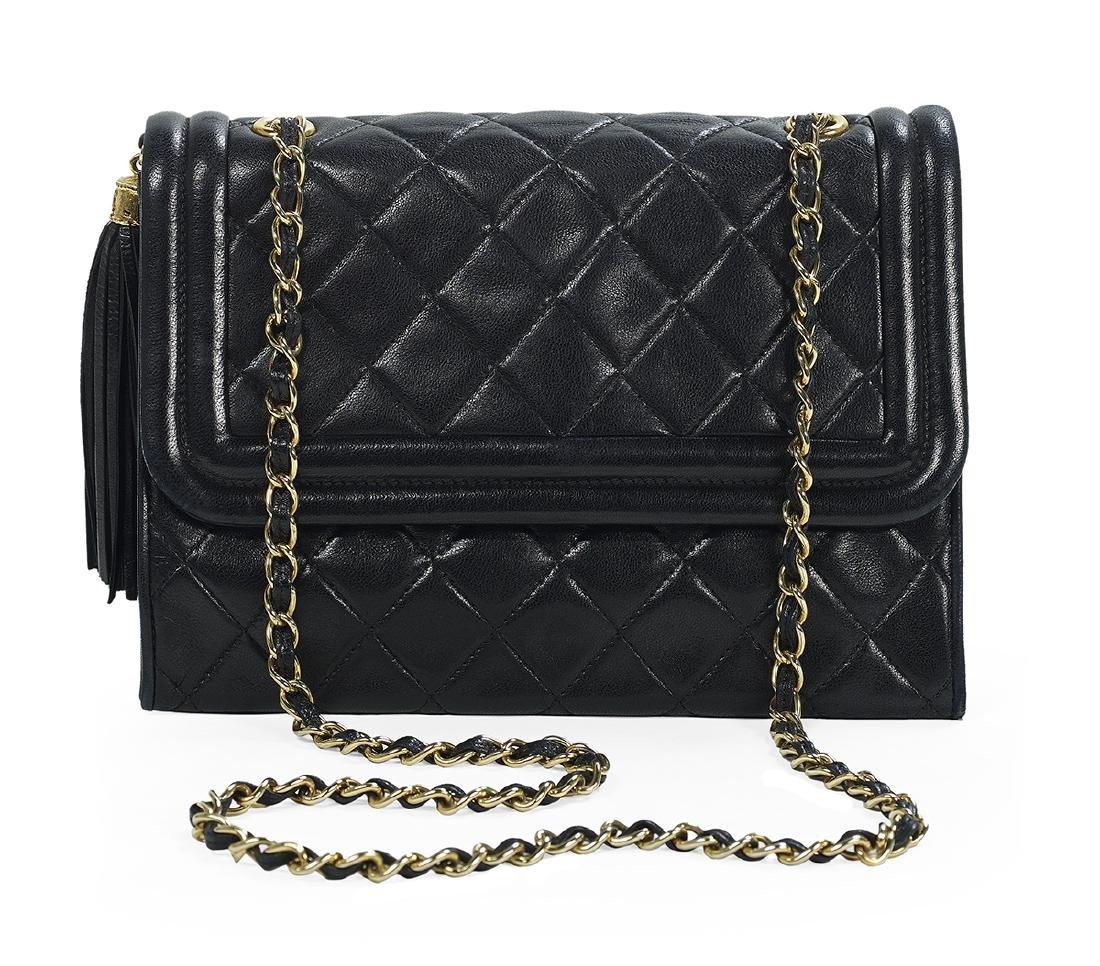 Chanel Black Lambskin Tassel Shoulder Handbag