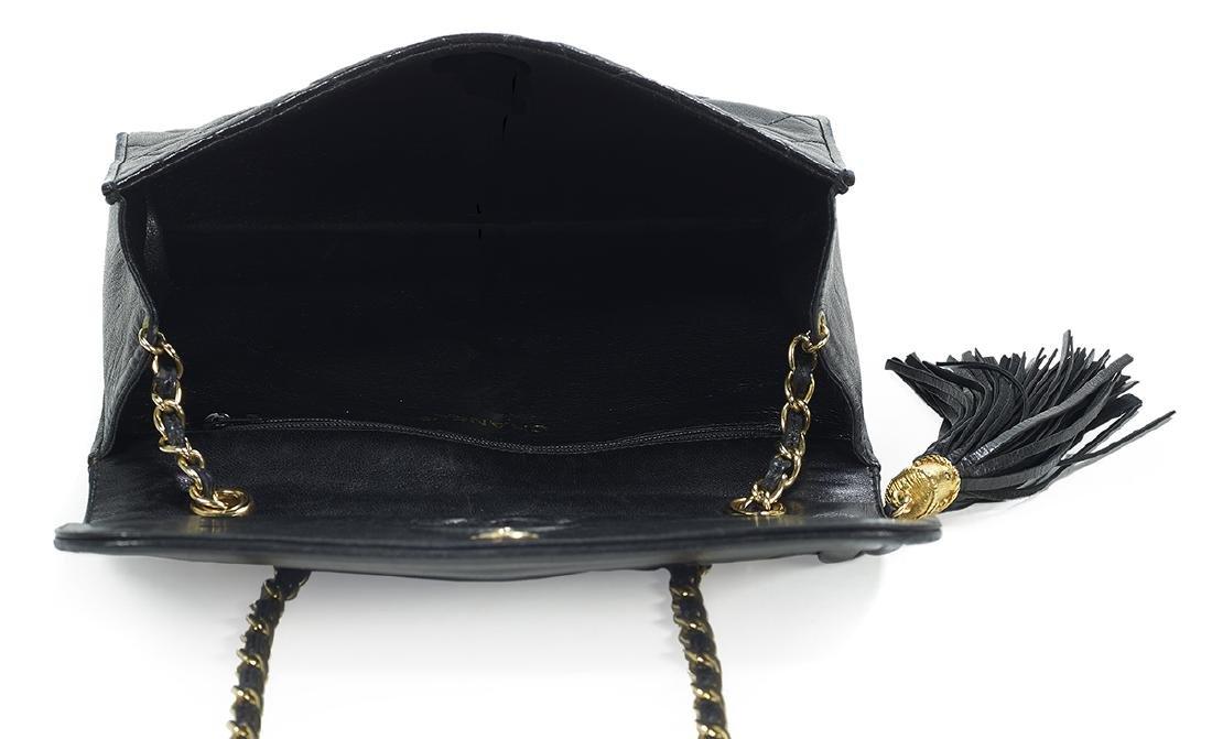 Chanel Black Lambskin Tassel Shoulder Handbag - 3