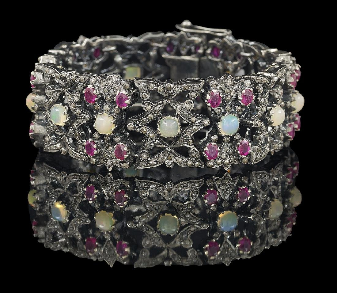 Opal, Ruby and Diamond Bracelet
