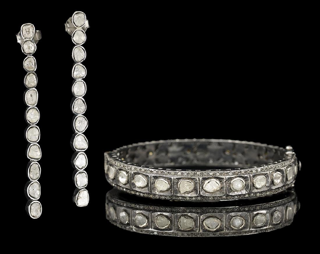 Diamond Bangle Bracelet and Earrings