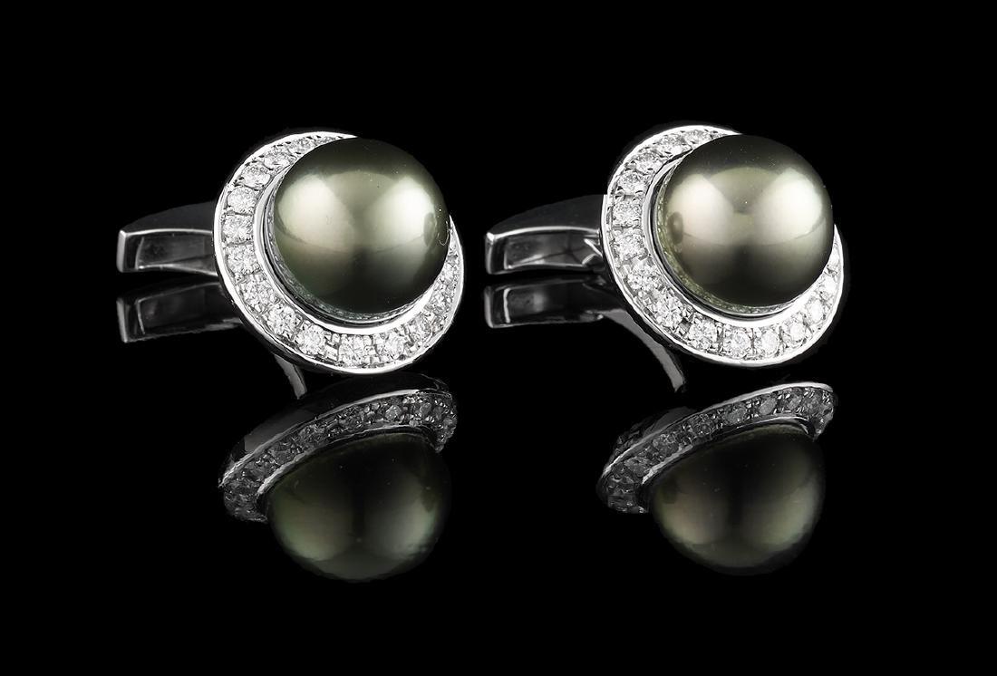 Pair of Tahitian Pearl and Diamond Cufflinks