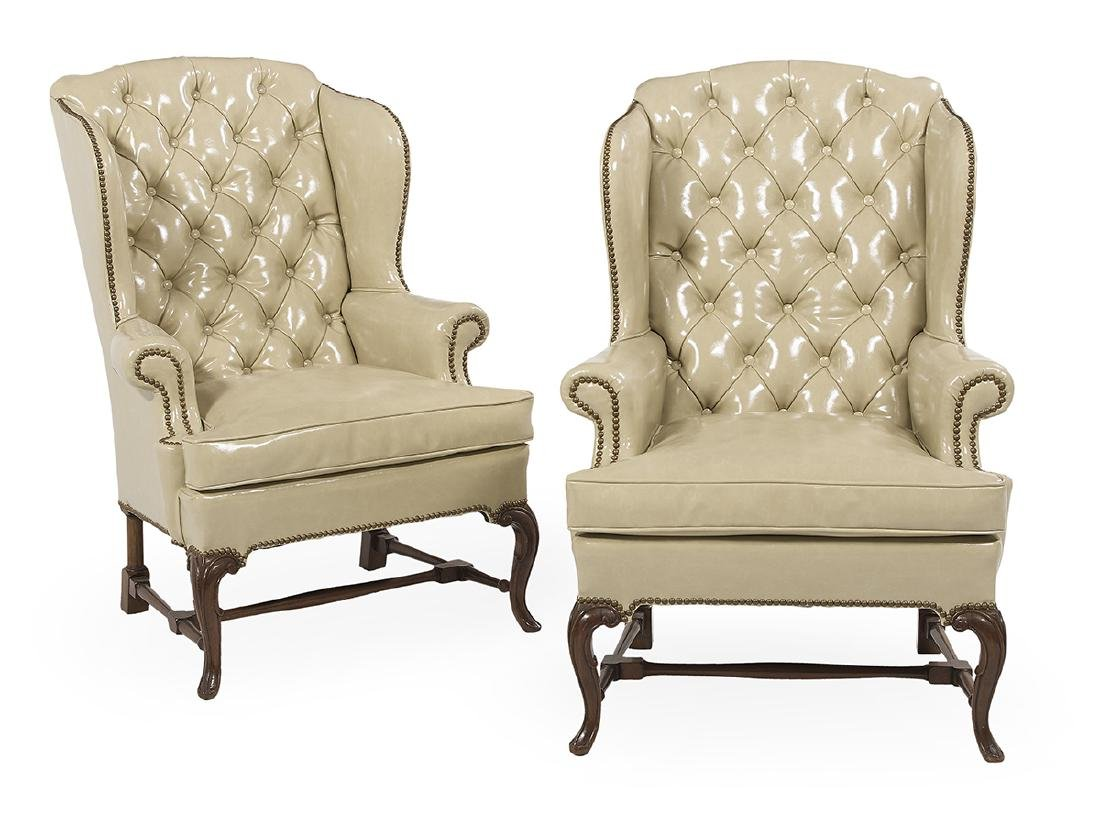 Pair of French Provincial-Style Wing Chairs
