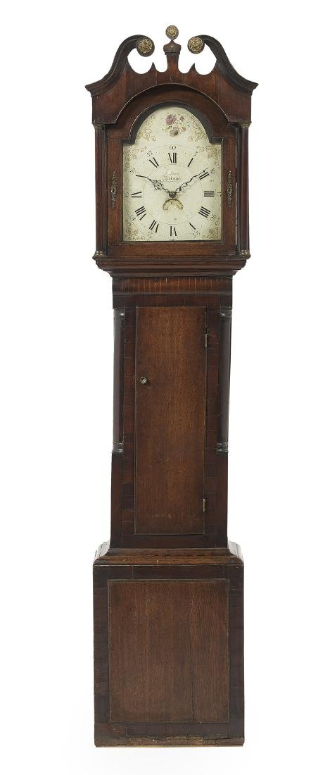 George III Oak and Mahogany Tall Case Clock