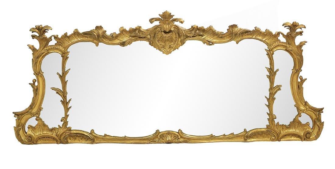 English Giltwood Three-Part Overmantel Mirror