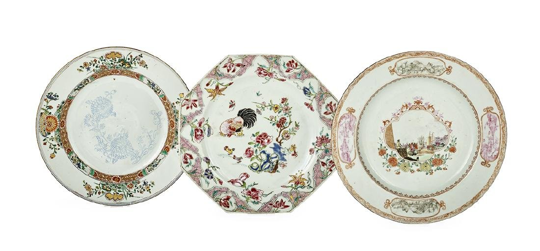 Three Chinese Export Porcelain Plates