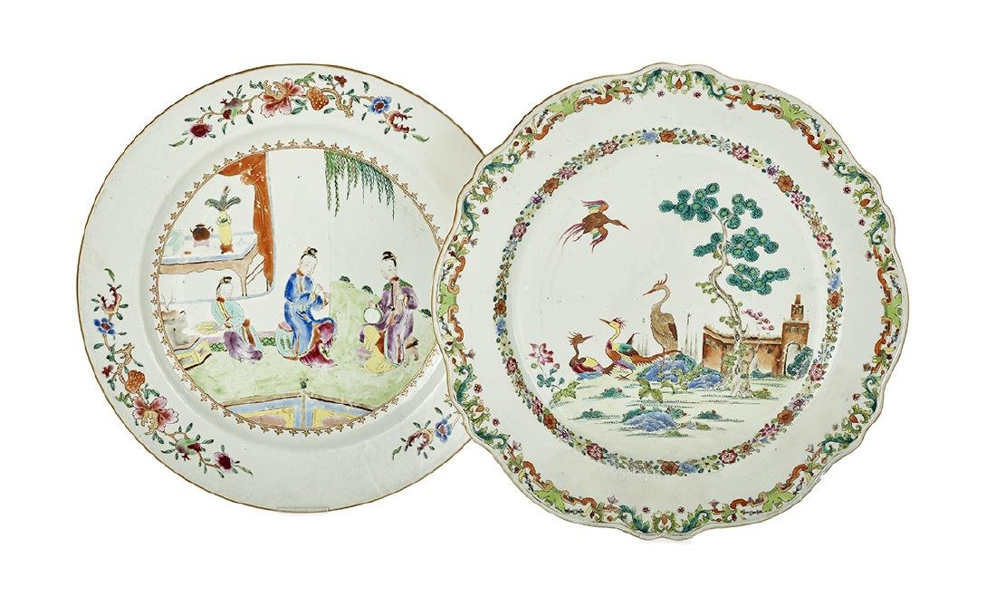 Two Chinese Export Porcelain Chargers