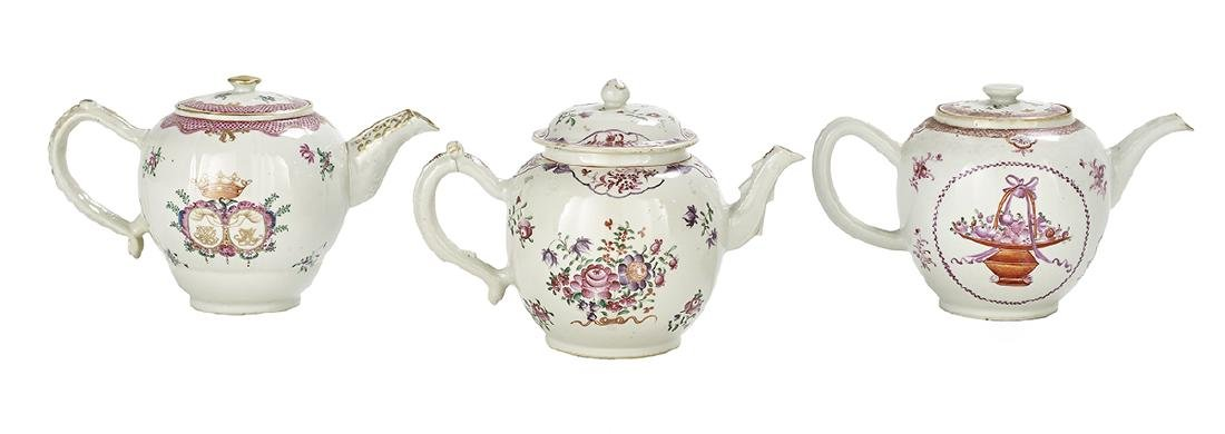 Three Chinese Export Porcelain Teapots