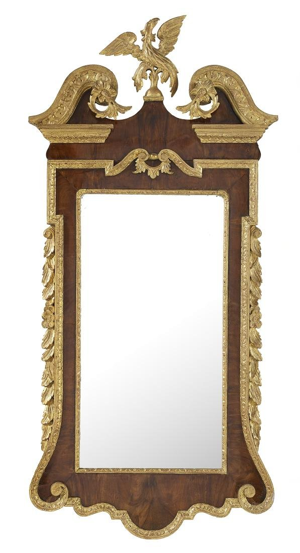 George III-Style Mahogany and Giltwood Mirror